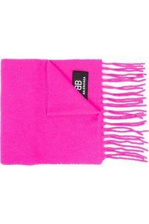 Balenciaga Logo patch fringed scarf