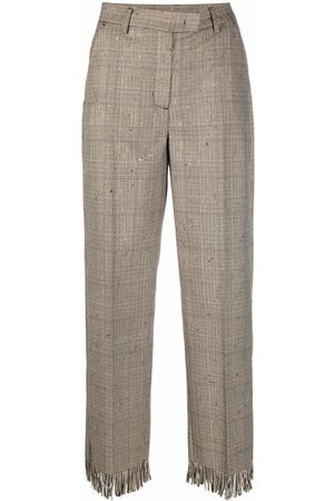 Pinko Fringed check-print trousers