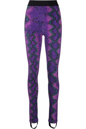 Roberto Cavalli Snakeskin-print slim-cut trousers