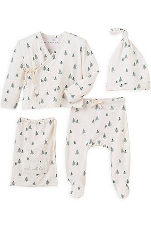 Elegant Baby Beanies - Baby's 3-Piece Tree Beanie, Kimono & Footie Set
