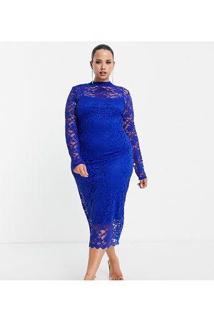 ASOS ASOS DESIGN Curve lace midi dress in cobalt