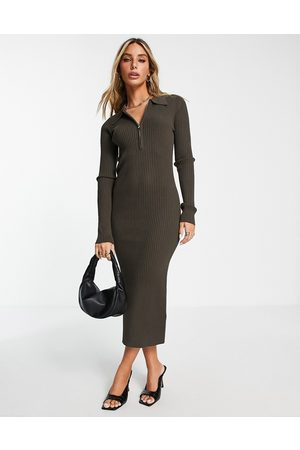 Envii Midi jersey dress with half zip and collar in chocolate