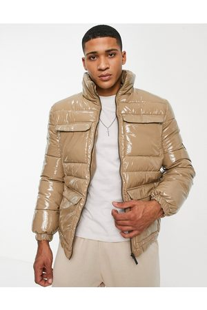 Native Youth Puffer jacket in high shine taupe