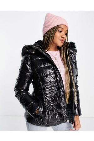 New Look Women Leather Jackets - Leather look puffer in