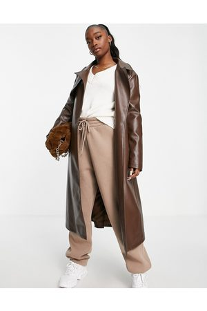 Aria Cove Vegan leather trench coat in chocolate