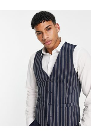 French Connection Slim fit linen stripe waistcoat