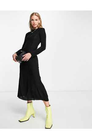 ASOS Long sleeve midi dress in with exposed seams
