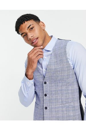 French Connection Slim fit checked waistcoat-Navy