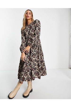 People Tree X V&A sustainable maxi smock dress in tapestry print-Multi
