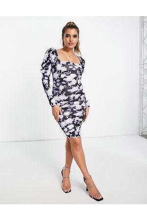 ASOS Satin puff sleeve side pep hem mini dress-Multi