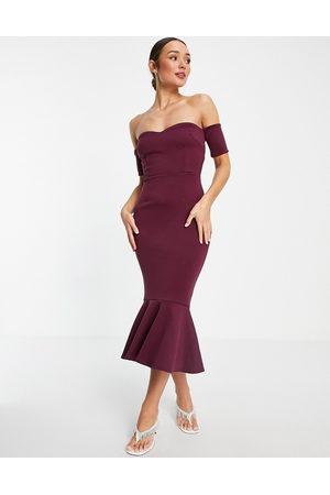 True Violet Bardot fishtail midi dress in plum