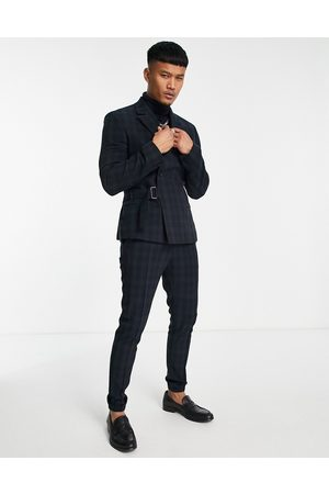 ASOS Skinny smart jogger with cuff in black watch tartan check