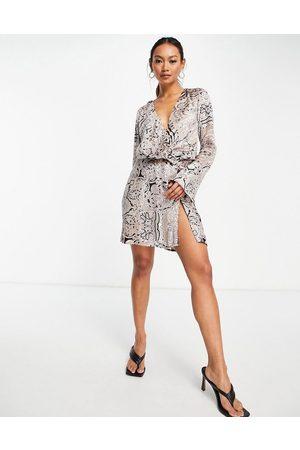 ASOS Bias cut drape mini dress with button detail in paisley velvet
