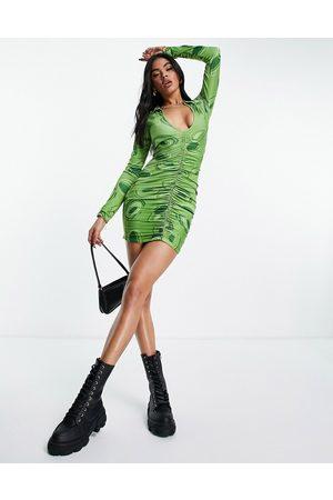 Public Desire Printed plunge collar dress in 70's green print-Multi
