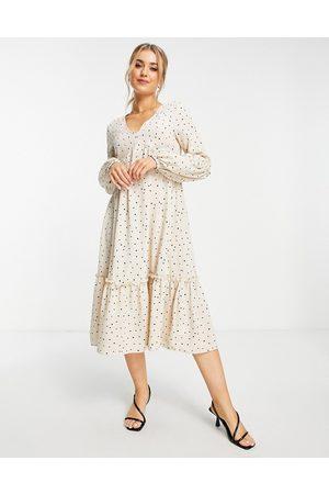 In The Style X Jac Jossa polka dot print midaxi tiered dress in beige spot-Multi