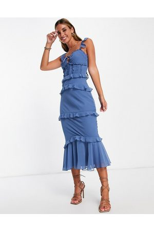 ASOS Tiered midi dress with ruched waist panels and tie details in