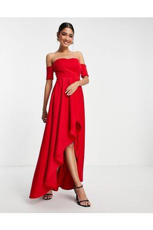 True Violet Off shoulder high low dress in