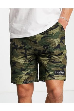 Sixth June Mesh shorts in camo with logo print-Multi