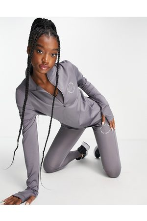 Pink Soda Sport quarter zip long sleeve logo top in slate