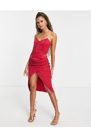 ASOS DESIGN Women Midi Dresses - Bandeau tuck midi dress in red-Multi