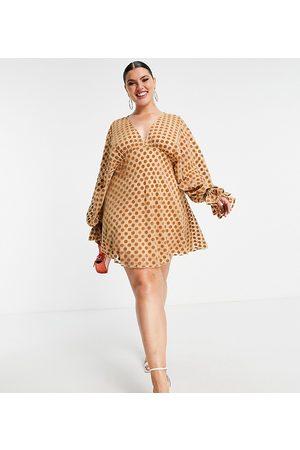 ASOS Women Evening Dresses - ASOS DESIGN Curve velvet flocked spot mini with blouson sleeve and elasticated cuff