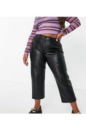 ONLY Women Leggings - Faux leather straight leg trousers in