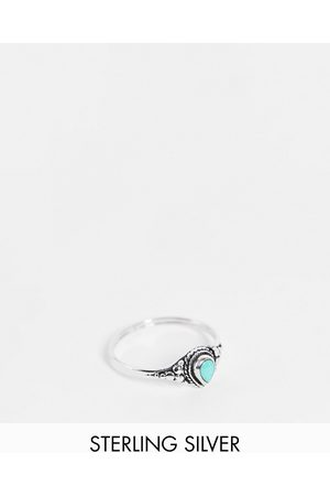 Kingsley Ryan Women Rings - Etched ring with turquoise stone in sterling