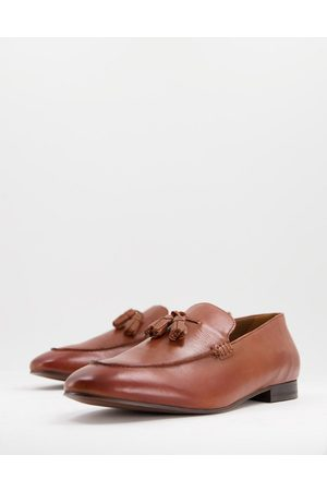 H by Hudson Men Loafers - Bolton Tassel Loafers in tan leather