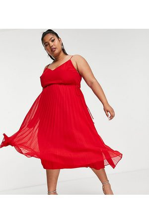ASOS ASOS DESIGN Curve pleated cami midi dress with drawstring waist in