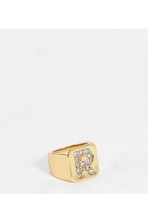 ASOS DESIGN Women Rings - 14k plated R initial ring