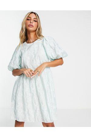 Envii Mini smock dress in pale jacquard