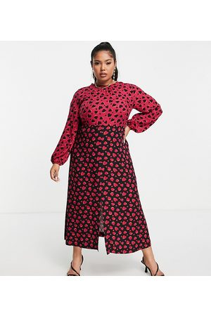 Closet London Plus Contrast midi tea dress in plum heart print-Multi