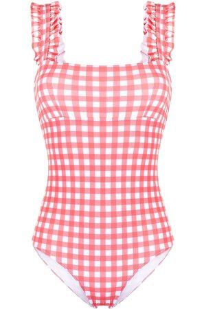 Ephemera Checked ruffle-trimmed swimsuit