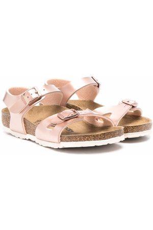 Birkenstock Metallic-effect leather sandals