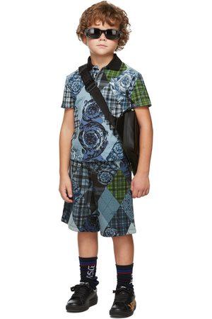 VERSACE Polo Shirts - Kids & Black Barocco Argyle Polo