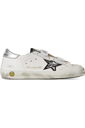 Golden Goose Sneakers - Kids & Silver Old School Penstar Velcro Sneakers