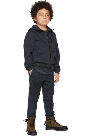 Stone Island Hoodies - Kids Navy Hooded Zip-Up Overshirt