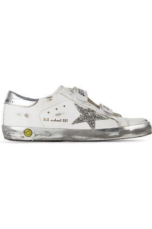 Golden Goose Sneakers - Kids & Silver Glitter Old School Velcro Sneakers