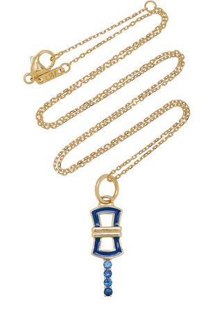 Monica Rich Kosann Women Necklaces - Women's Pocket Watch Key Enameled 18K Yellow Gold Sapphire Necklace