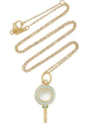 Monica Rich Kosann Women Necklaces - Women's Mini Pocket Watch Key Enameled 18K Yellow Gold Prasiolite; Emerald Necklace