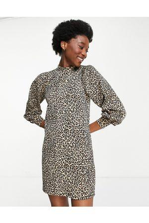 Miss Selfridge Women Casual Dresses - Funnel neck sweat dress in animal print
