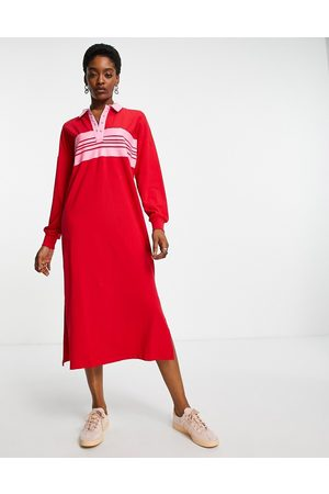 ONLY Exclusive jersey polo midi dress in stripe
