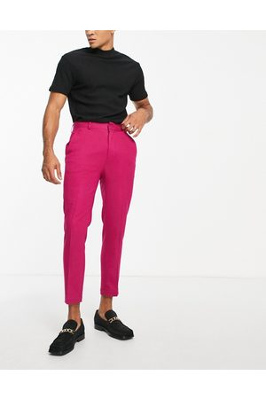 ASOS High waist slim crepe smart trousers in fuchsia