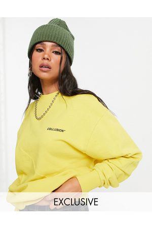 COLLUSION Seamed detail branded sweatshirt in
