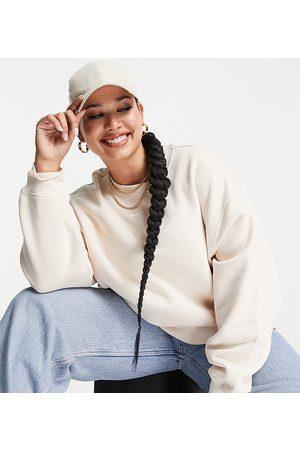 Nike Plus mini swoosh oversized cropped sweatshirt in pearl