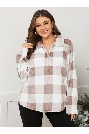 YOINS Plus Size Lapel Collar Plaid Zip Front Long Sleeves Sweatshirt