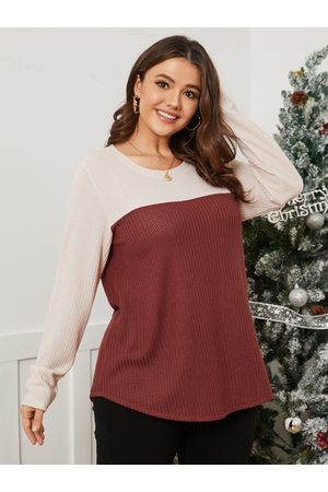 YOINS Plus Size Crew Neck Color Block Waffle Knit Patchwork Design Long Sleeves Knitwear