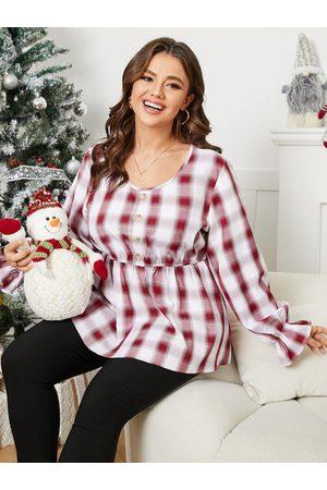 YOINS Women Blouses - Plus Size Crew Neck Plaid Button Design Blouse