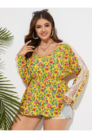 YOINS Plus Size V-neck Calico Lace Patchwork Long Sleeves Blouse