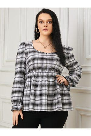 YOINS Plus Size Square Neck Plaid Shirring Front Button Long Sleeves Blouse